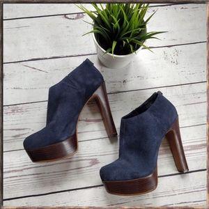 SCHUTZ Blue Suede Heeled Platform Ankle Booties 9